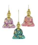 "BUDDHA GLASS CHRISTMAS ORNAMENTS 5"" Set of 3 Turquoise Lilac Pink Kurt A... - $49.95"