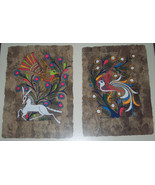 RARE 2 IN 1 Framed Amate Bark  Mexican Original Folk Art Painting - $149.99