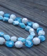 Vintage Crown Trifari Blue Art Glass Necklace, Double Strand - $100.00