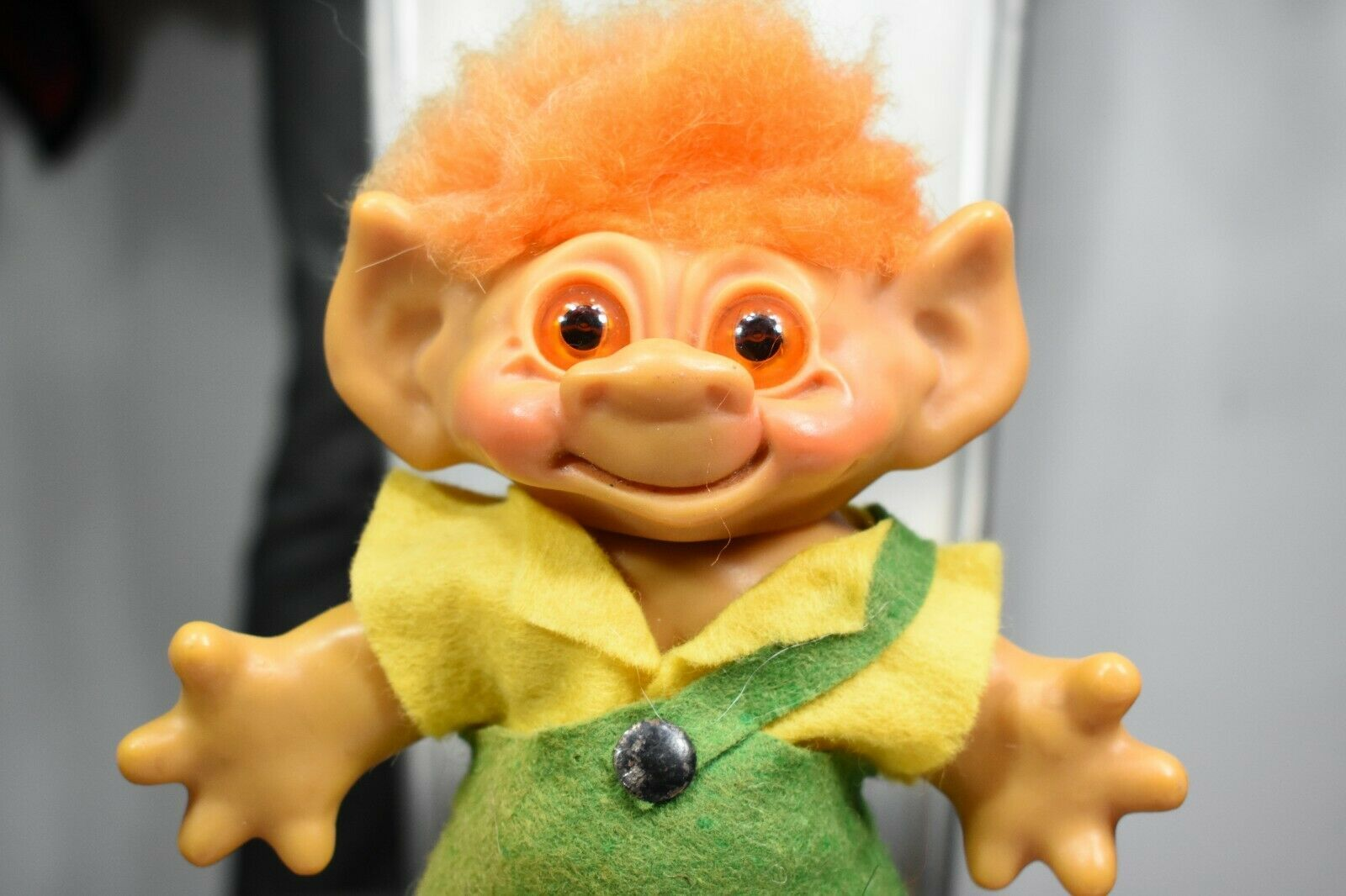 """vintage Dam 60's worker troll doll 7"""" made in Denmark coin bank"""