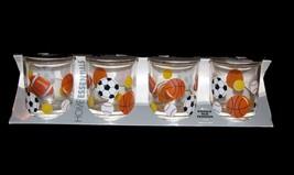 4 SPORTS Football Soccer Baseball Basketball Tennis Tumblers Glasses NIB Italy - $18.99