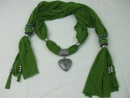 Women Avocado Green Jewelry Necklace Long Scarf Silver Heart Beads Penda... - $14.84