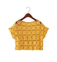 Soft Women Hollow Out Pullover Shawl Short Shirt Blouse, YELLOW
