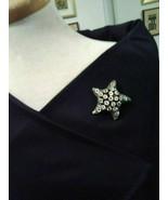 VINTAGE GOLDEN PIN BROOCH ENAMELLED STARFISH W/ MULTICOLOR FAUX JEWEL AC... - $35.00