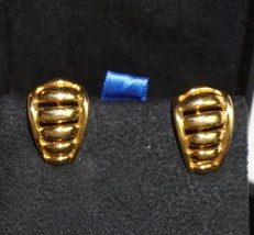 Napier Vintage Gold Tone Clip on Earrings 1 inch  w/ Screw Adjust  - $18.98