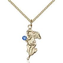"""14K Gold Filled Guardian Angel Pendant -  3mm Blue Swarovski Crystal - 18"""" Chain - $84.99"""