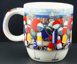 Cape Shore Maine Coffee Mug Colorful Buoys Sailboats Crazy Sister Marina... - $14.99