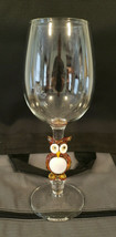 "MURANO Italy Contemporary Art Glass 9"" WINE GOBLET with OWL Stem - $39.95"