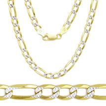 5.7mm 14k Y Gold Sterling Silver Diamond Cut Figaro Link Italian Chain N... - $67.06+