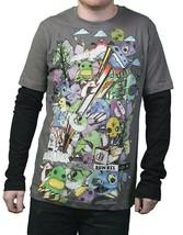 Dunkelvolk Mens Gray Jaley Gargoyle Peruvian Contemporary Art LongSleeve T-Shirt