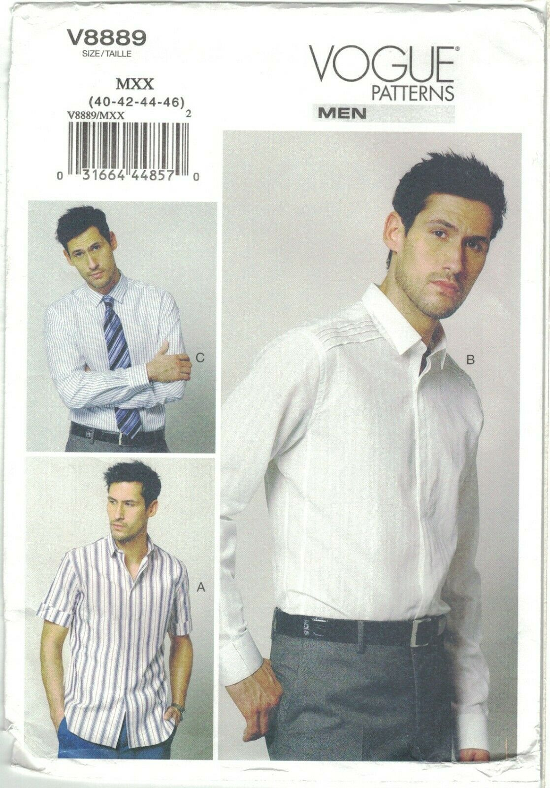 Primary image for Vogue 8889 Men's Dress Shirt and S/S Sports Shirt Pattern Choose Size Uncut