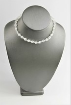 "15"" ESTATE VINTAGE Jewelry CLEAR & WHITE CASED GLASS BEAD NECKLACE ADJUS... - $10.00"