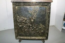 "Vintage Wood Metal Brass Tone Wheel Rolling Storage Chest 18.5""x14""x12.5"" Box image 4"