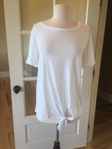 Green Envy White Top Solid Short Sleeve Tie Front Womens Small - $9.99
