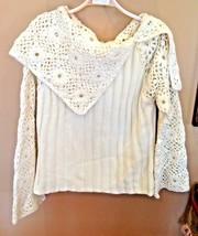 NEWPORT NEWS Winter White Crochet Sleeve Collar Chunky Knit Sweater X Large - $37.39