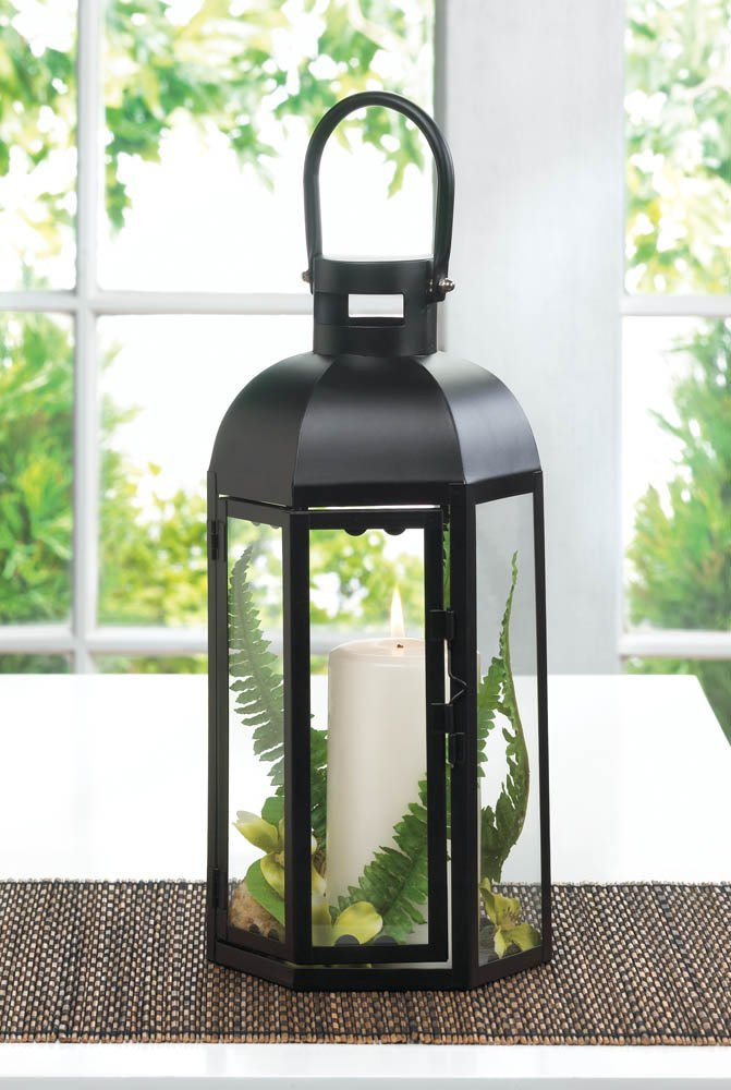 Black Lantern Candle Holder, Small Rustic Outdoor Metal Lanterns For Candles image 2