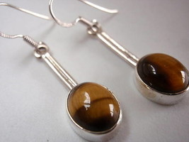 Tiger Eye Oval on Stem Dangle 925 Silver Earrings Corona Sun Jewelry Brown - $13.85