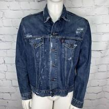 Vintage Levis Denim Trucker Jacket Mens XXL Slim Fit Custom Distressed A... - $37.39