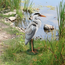 Gray Heron Coastal Bird Statue - $57.08
