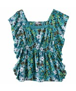 Candies Enamel Blue Floral Butterfly Blouse Top Girls 7-16 XL 16 - $19.99