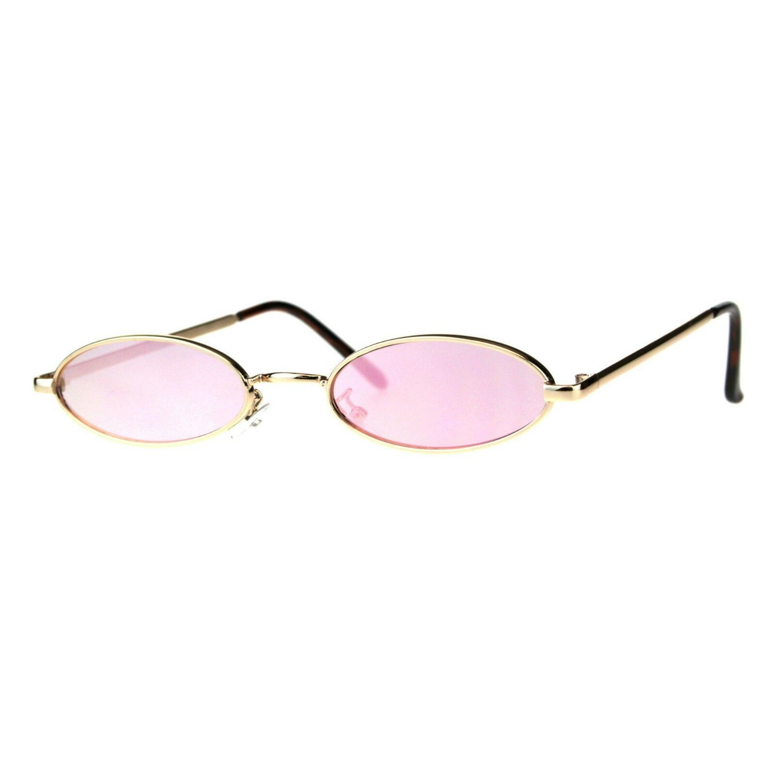 Super Skinny Sunglasses Womens Oval Flat Metal Frame Mirror Lens UV400