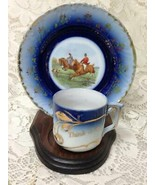 Antique, Rare, Victoria Austria, Flow Blue Equestrian-Think of Me Cup an... - $37.95