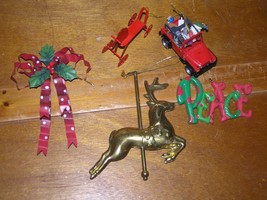 Estate Lot of 5 Brass Carousel Reindeer Red Polka Dot Metal Bow SANTA CL... - $9.49