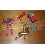 Estate Lot of 5 Brass Carousel Reindeer Red Polka Dot Metal Bow SANTA CL... - $9.49