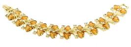 """Vintage Coro Amber Givre Glass Flower Heart Shaped Cabs Spray Bracelet 7"""" - $80.99"""