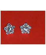 Blue and Clear CZ Sterling Silver Earrings Flowers - $19.97
