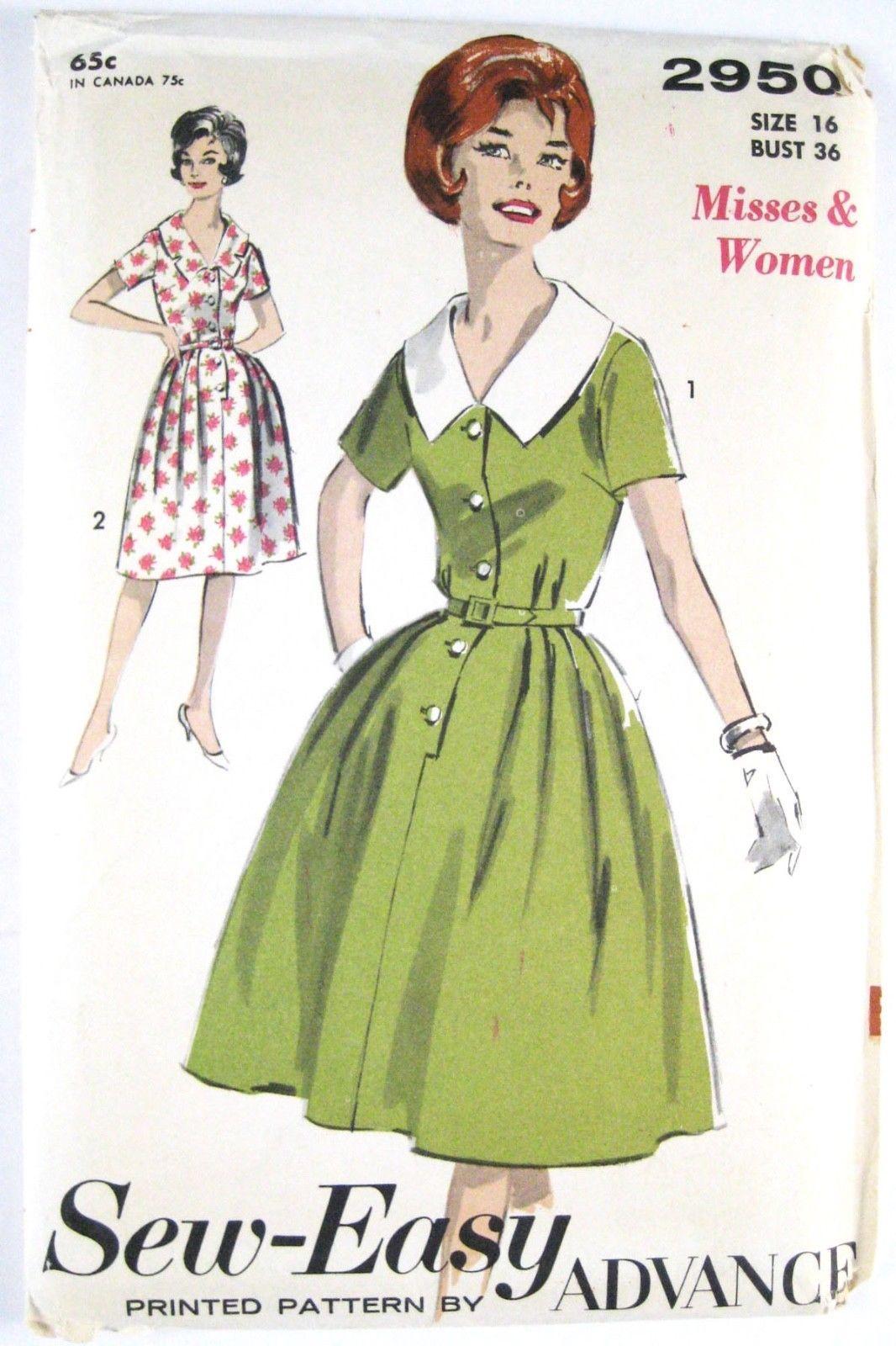 Vintage 60s Advance 2950 Misses Shirtwaist Dress Short Sleeve V-Neck 16/36 image 2