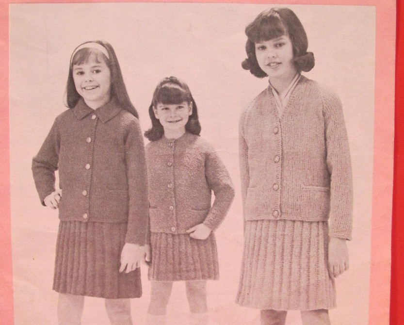 Vintage Patons Beehive Knitting Patterns CHILDREN GIRLS Jacket Skirt 8 - 12