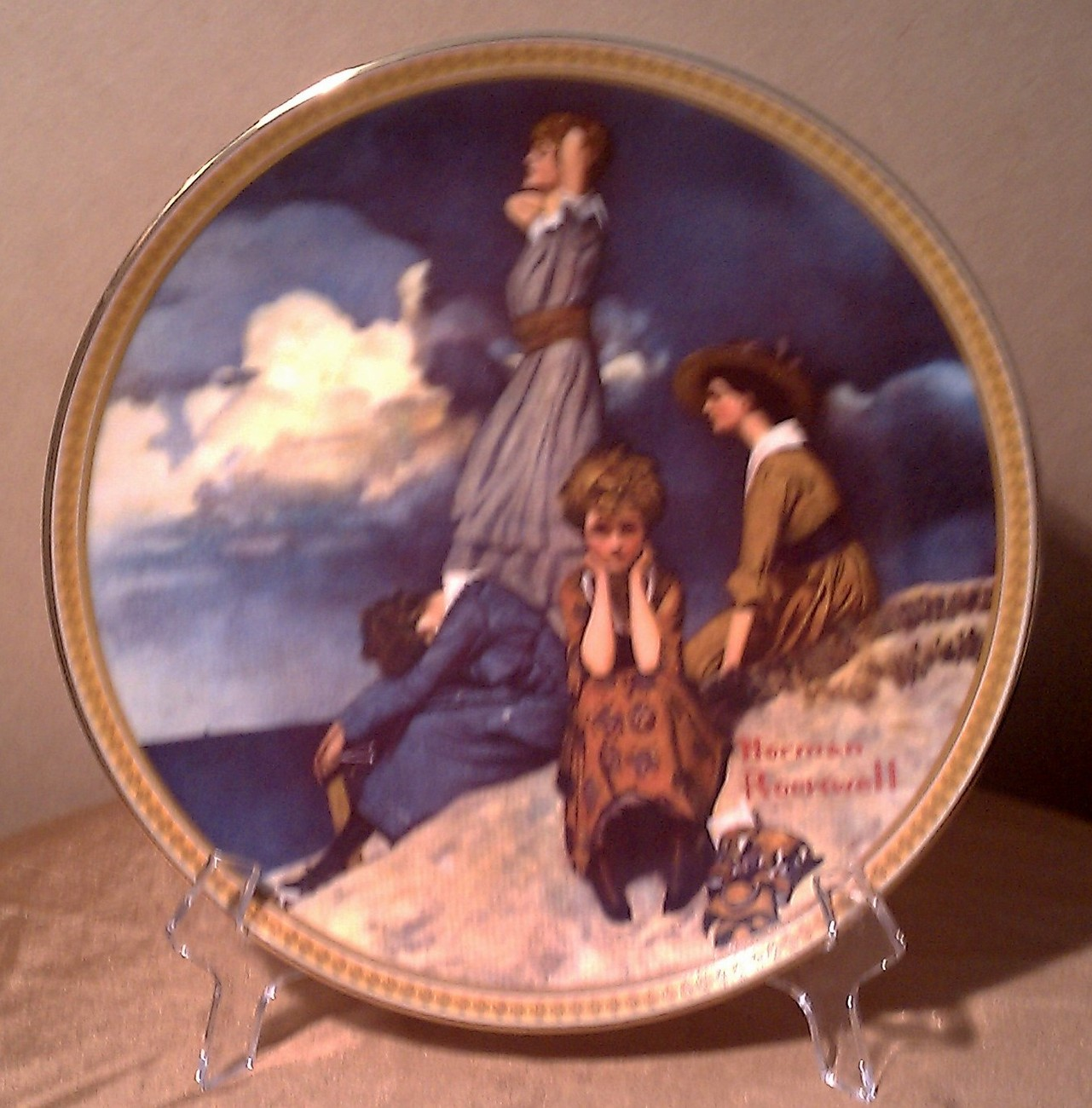 Waiting On the Shore Plate Rockwell's Rediscovered Women