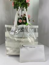 New Michael Kors Bag Eliza Clear White Transparent NS Medium Tote A1 - $108.90