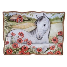 "Heartland White Horse Barn Ceramic Rectangular Platter, 16 x 12"" Susan W... - £33.34 GBP"