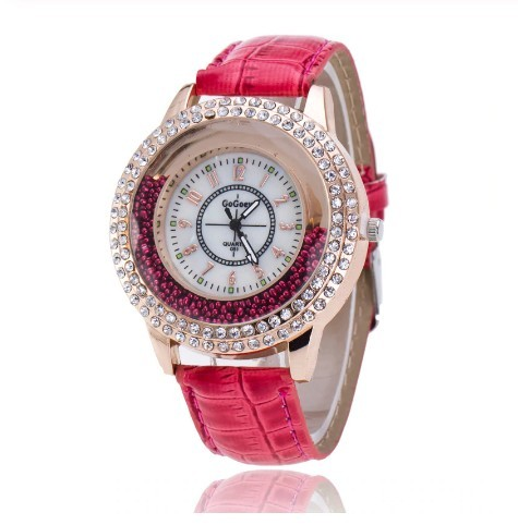 Round Diamond Rhinestone Watches Women Red Leather Luxury Wristwatch
