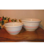 Vintage USA crock bowls with pink and blue stri... - $37.00