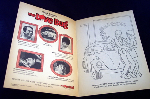 1969 Disney THE LOVE BUG Coloring Book Hunt's Catsup Ad