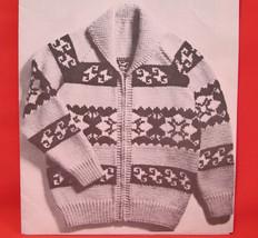Vintage Mary Maxim Knitting Patterns Hiawatha Cardigan Sweater ADULTS - $6.95