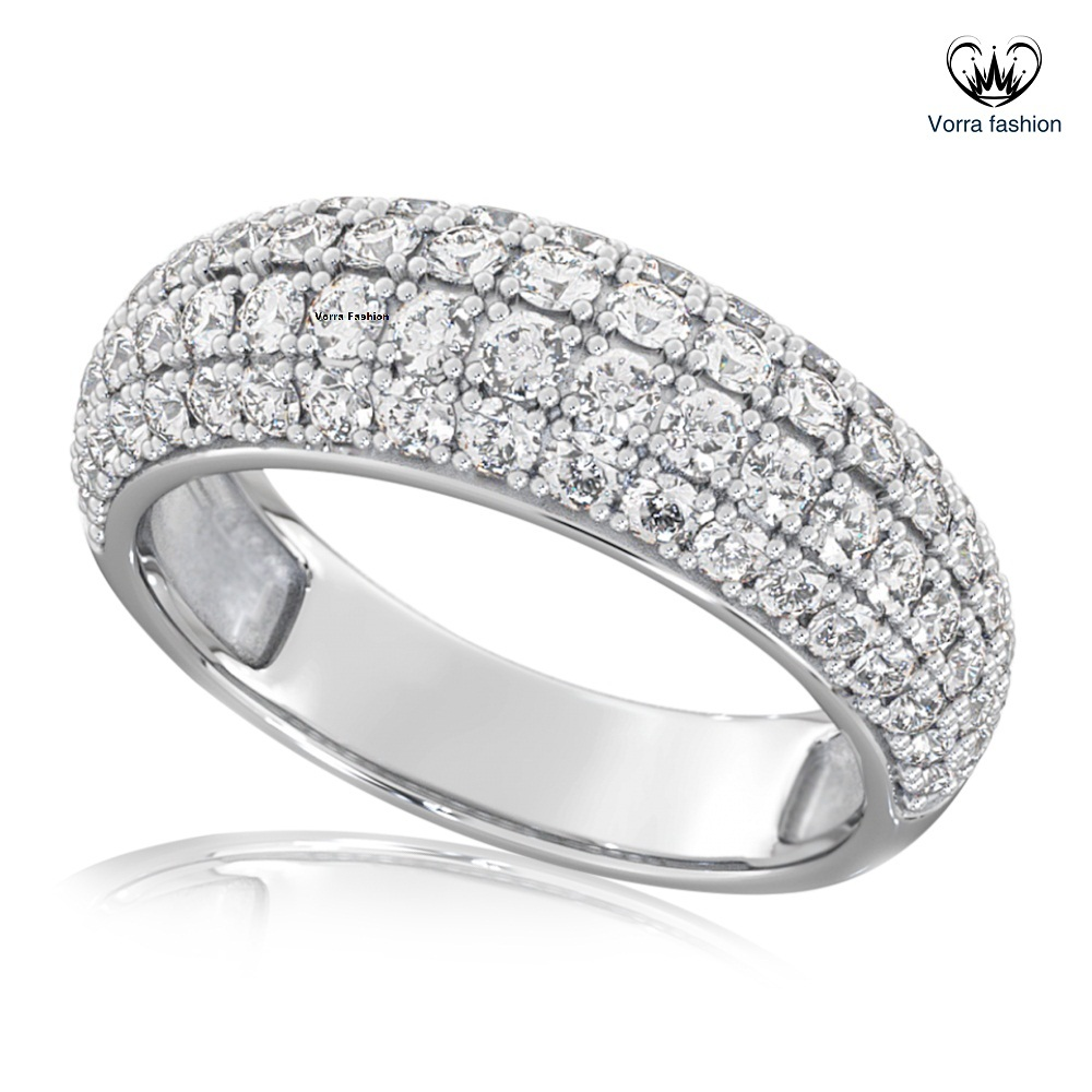 Round brilliant pave wedding engagement 925 sterling silver ring p150 496 image