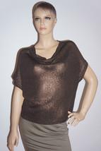 $320 New Vince Brown Metallic Knit Sweater Sz S - $2.438,63 MXN
