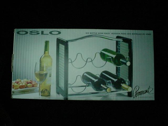 Pomerantz - 6 Bottle Table top Black Wooden Wine Rack by OSLO - New In Box