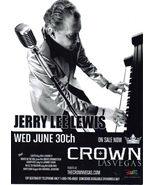 JERRY LEE LEWIS at CROWN Las Vegas June 30th 5-3/4 X 3-3/4 Promo Card - $1.95