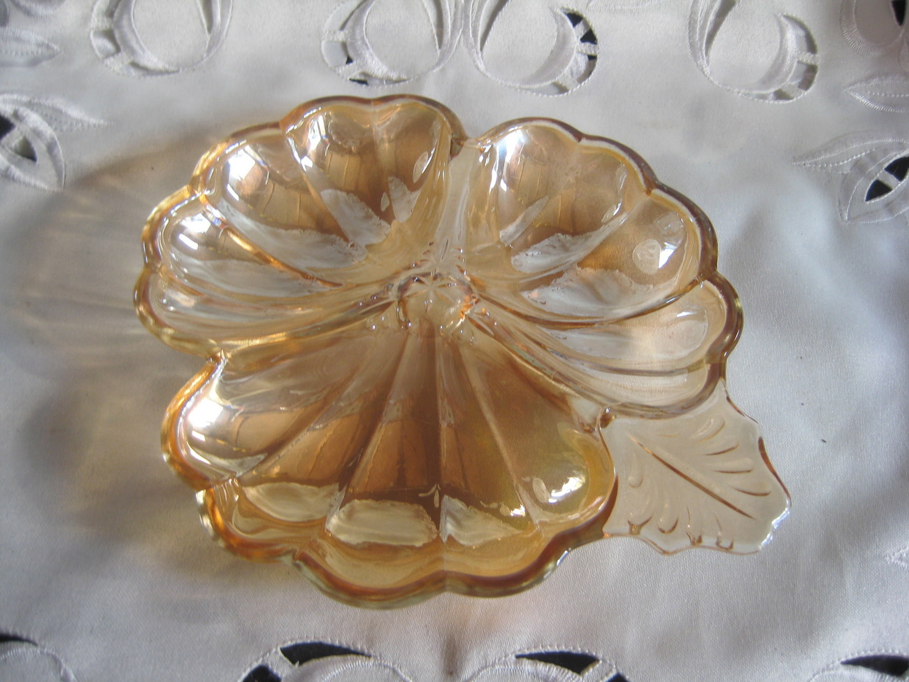 Depression Glass Clover Shaped dish