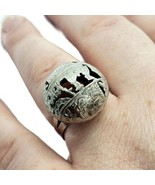 Israel Ethnic 925 Sterling Silver Dome Symbol Ring Adjustable Size 8 - $39.59