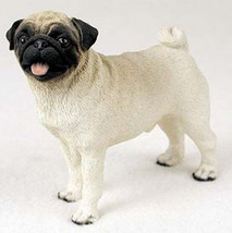 PUG (FAWN) DOG Figurine Statue Hand Painted Resin Gift Pet Lovers Tan - $16.74