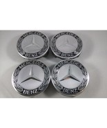 4PC SET Mercedes Benz Wheel Center Caps Emblem CHROME BLACK Hubcaps 75MM... - $17.81