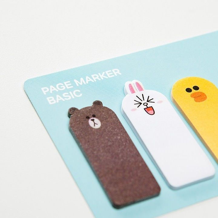 LINE Friends Basic Page Marker Post-it Sticker Bookmark Sticky Notes Character