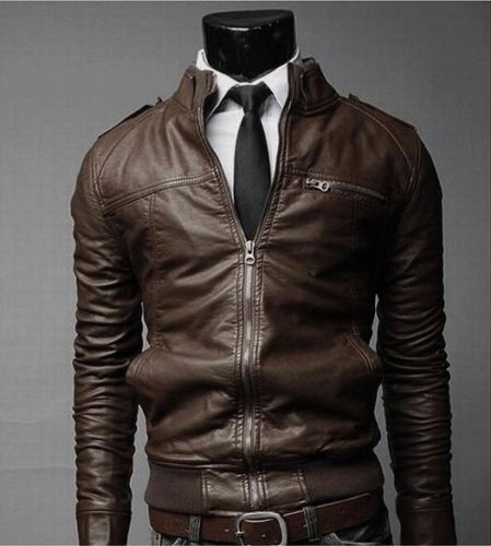 New Fashion Men's jackets Slim collar motorcycle leather jacket coats #SCLM WISH