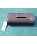 Massini Brown Frame Clutch w/ Studded Heart Wallet Purse NWT - $9.99